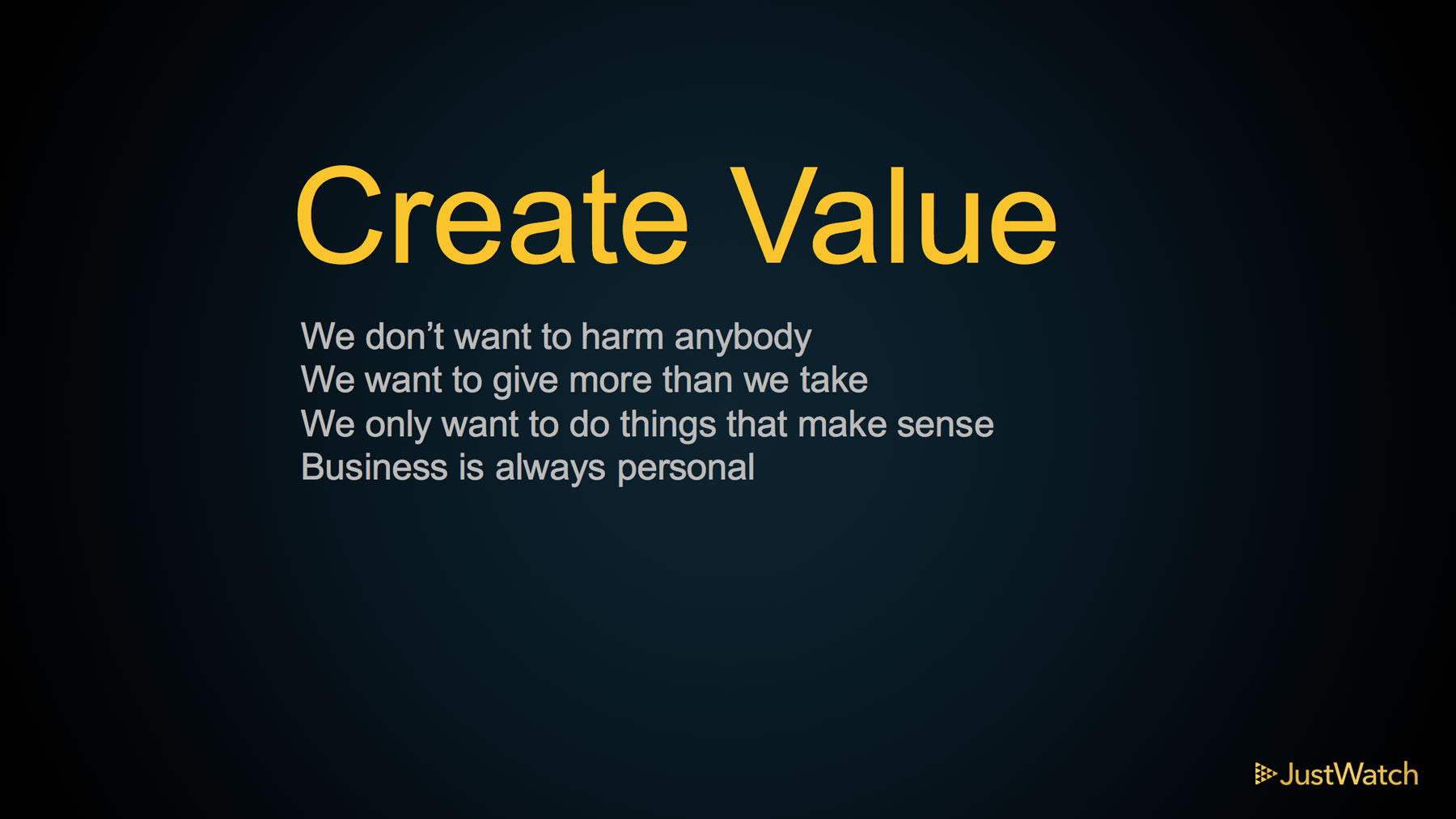 JustWatch core value: Create Value